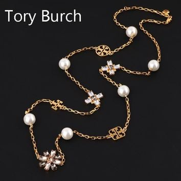Tory Burch High quality new fashion floral diamond gem pearl pendant long section necklace women Golden