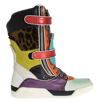 Dolce & Gabbana Multicolor Leather Mid Calf Sneakers
