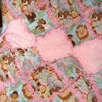 Jungle Babies Rag Quilt - Chenille - Pink - Baby Girl - Cute Jungle Animals