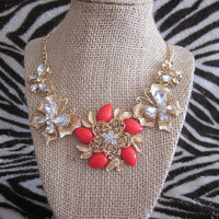 Gold Red Flower Butterfly Bib Statement Necklace