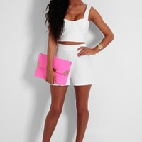 Ocean View White High Waisted Shorts | Pink Boutique