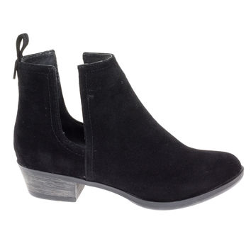 Austin14 Black By Breckelle's, western slide in ankle bootie low block heel w v slit side cutout