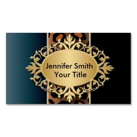 Elegant Denim Blue and Black Leopard Print Double-Sided Standard Business Cards (Pack Of 100)