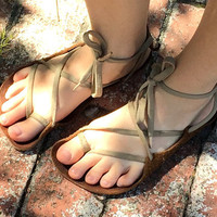 2mm: Barefoot in Public Sandals, Tan, Cotton Laces