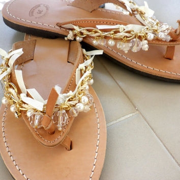 Wedding sandals- Boho chic leather flip flops- Gold chain decorated sandals- Bridal sandals - Greek leather sandals with pearls-Women flats