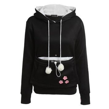 Cashmere Cat Lovers Hoodie Women Winter Pouch Dog Pet Hoodies Casual Kangaroo Pullovers Sweatshirts