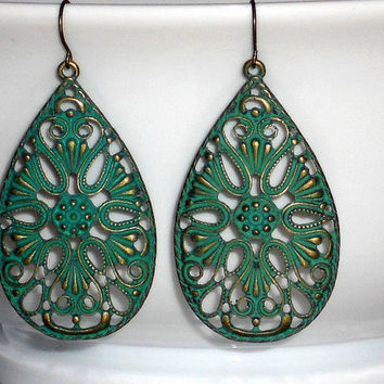 Green boho drop earrings, bohemian jewelry, green patina earrings, green lace teardrop earrings