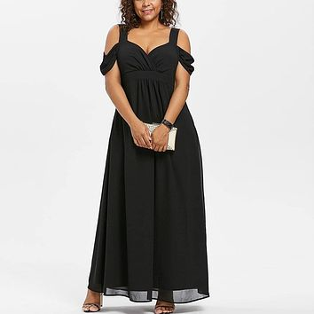 Plus Size Women's Elegant Evening Off Shoulder Empire Style Maxi Dress Size S - 5XL