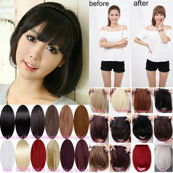 Sweet Short Fringe Bangs Front Clip In Hair Extensions Clip On Bangs Hair Extension Hairpiece Black Blonde Brown