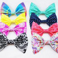 Summer Brights- Set of FOUR Colorful Bows- Large Hair Bows