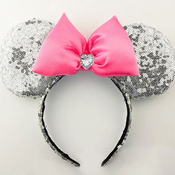 Minnie Mouse Ears Silver Sequin Minnie Mouse Headband Sequin Minnie Ears Minnie Bow Sequin Mickey Mouse Ears Mickey Ears Sequin Disney Ears