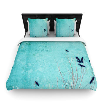 "Robin Dickinson ""Love One Another"" Blue Birds Woven Duvet Cover"