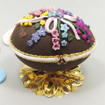 Chocolate Easter Egg, Easter Egg, Decorated Easter Egg, Easter Ornament, Faberge Egg, Faberge Style Decorated Egg
