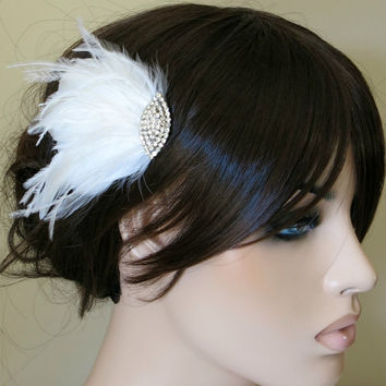 Bridal Bridesmaids Hairpiece Feather Fascinator Wedding Hairpiece Something Blue White
