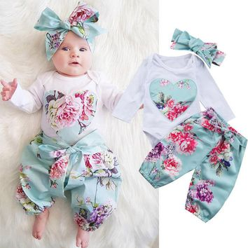 2017 Baby girl clothing Ins Outfits Retro floral Romper with Heart Long sleeve + Pant with headband 3pcs/set