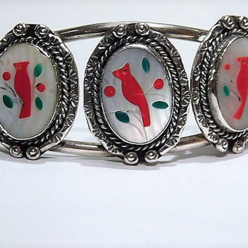 Vintage Zuni Bird Cuff Native American Mother of Pearl Red Coral Inlay Bird Cardinal Green Turquoise Sterling Silver Native American Cuff