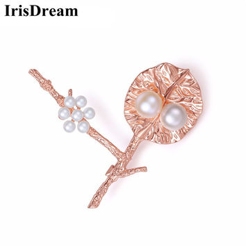 IrisDream New Rose Gold Tree and Leaf Shape Freshwater Pearl Flower Brooches For Women Pins Party Bridal Gift Box Female Jewelry