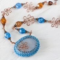 Water Blue Beaded Necklace With Natural Beach Quartz Pebble Stone and Copper Wirework Flowers