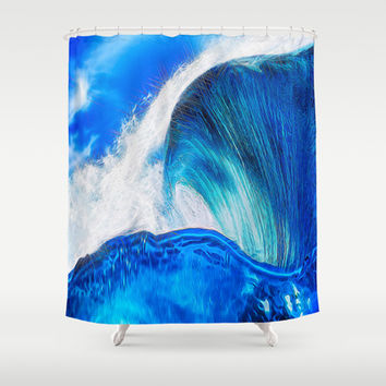 Sapphire Blue Ocean Wave Shower Curtain by Blooming Vine Design