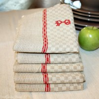 Antique Linen Flax French Kitchen Towel Turkey Red Monogram P G