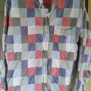 Vintage J.Crew Patchwork plaid Madras button down oxford men's shirt size large