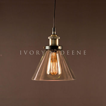 Sophie Glass Pendant Light with Brass Fittings