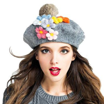 CREYU3C Women New Arrival Autumn Winter 100% Wool Beret Beanie Hat Vintage Lady Christmas Artist Painter DIY Floral Fur Ball Caps