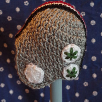 Baby Ohio State Buckeyes Helmet Beanie with Buckeye stickers
