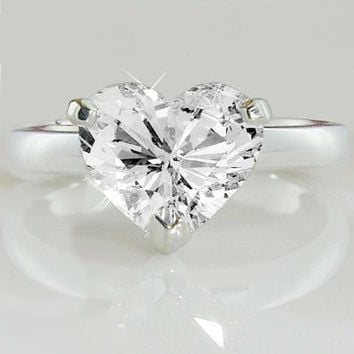 A Perfect 3.5CT Heart Cut Solitaire Russian Lab Diamond Engagement Promise Wedding Ring