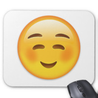 White Smiling Face Emoji Mouse Pad