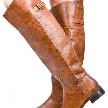 TAN FAUX LEATHER ROUND TOE RIDER BOOTS