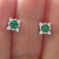 Natural Diamond & Chatham Green Emerald Stud Earrings Solid 14k White Gold