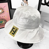 Fendi Fashion New Letter Diamond Shining Sunscreen Travel Fisherman Hat Cap Women White