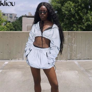 Kliou Fashion Reflective Zipper Hooded Women Two Pieces Sets 2018 Autumn Reflective Hoodies Short Skirts Zip Pockets Female Sets