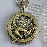 The Hunger Games Mockingjay Pendant with Peeta Pearl Vintage style Pocket Watch Locket Necklace