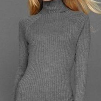 INC International Concepts Petite Ribbed Knit Turtleneck Sweater 3N400 Healther Grey