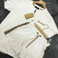 """Burberry"" Short sleeve Top Shorts Sweatpants Set Two-Piece"