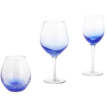 Crackle Blue Stemware