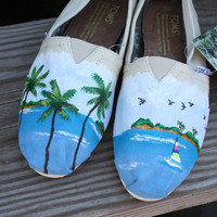 Tropical Palm Trees Sailboat Ocean Beach Original Custom Acrylic Painting for Toms Shoes