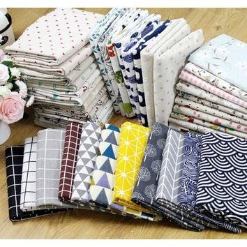 Cotton Linen Fabrics For Patchwork DIY Quilting & Sewing Sofa,Table Cloth,Curtain,Bag,Cushion Material - TH-6158A