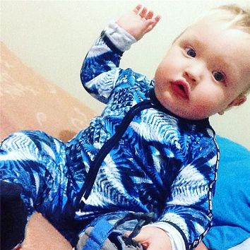 Infant Jumpsuit Long Sleeves Blue Romper Baby Boy Girl Clothes Cottons New Born Toddler Overall Outfits Pajamas