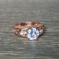 2ct Round Cut engagement Ring - Cubic Zirconia Engagement Ring, Rose Gold Filled, Engagement Ring, Wedding Ring, Promise Ring, Filigree Ring