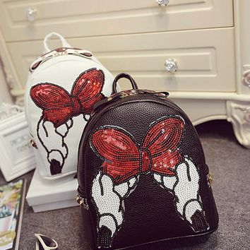 PU Leather Girl Cute Backpack Small School bags red Bow Backpacks Women Bag Mickey Mochila Escolar Feminina