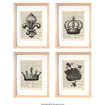 Royal print set of 4-Victorian print set of 4 dictionary print-french decor-crown print-bee print-fleur de lis print-victorian art-DP235