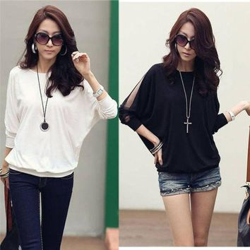 DCCKIX3 Women's Cotton Loose Shirt Top Dolman Batwing Lace Long Sleeve Shirt Blouse for Women Black / White G0129 = 1930549252