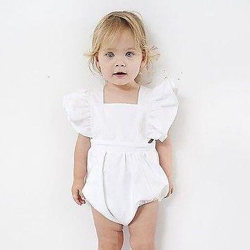 Summer 2017 Newborn Infant Baby Girl Romper Solid White Lace Romper Sunsuit Jumpsuit Outfits