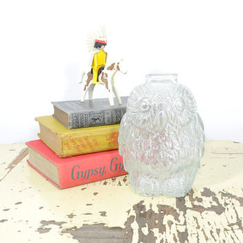 Vintage Glass Owl Bank • 1960s Piggy Bank • Wise Old Owl • Vintage 60s Glass Piggy Bank • Vintage Owl Decor • Vintage 60s Glass Bank