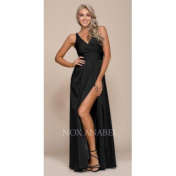 Ruched Satin V-Neck Long Evening Gown Front Slit Black