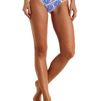 Neon Coral Caged & Printed Cheeky Bikini Bottoms by Charlotte Russe