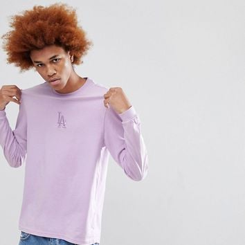 New Era Los Angeles Dodgers Long Sleeve T-Shirt Exclusive To ASOS In Lilac at asos.com